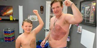 pai tatua marca nascenca filho
