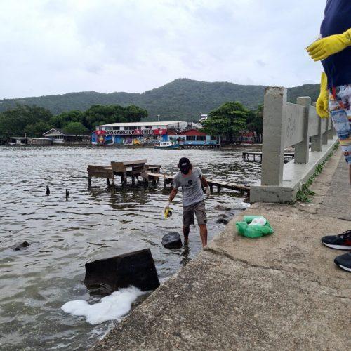 voluntários limpam lagoa em SC