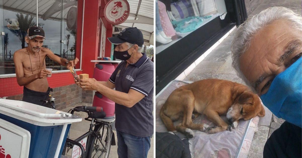 Homem em bicicleta entregando bolachas a pessoa em situação de rua e Homem de máscara fazendo selfie com cachorrinho deitado na rua