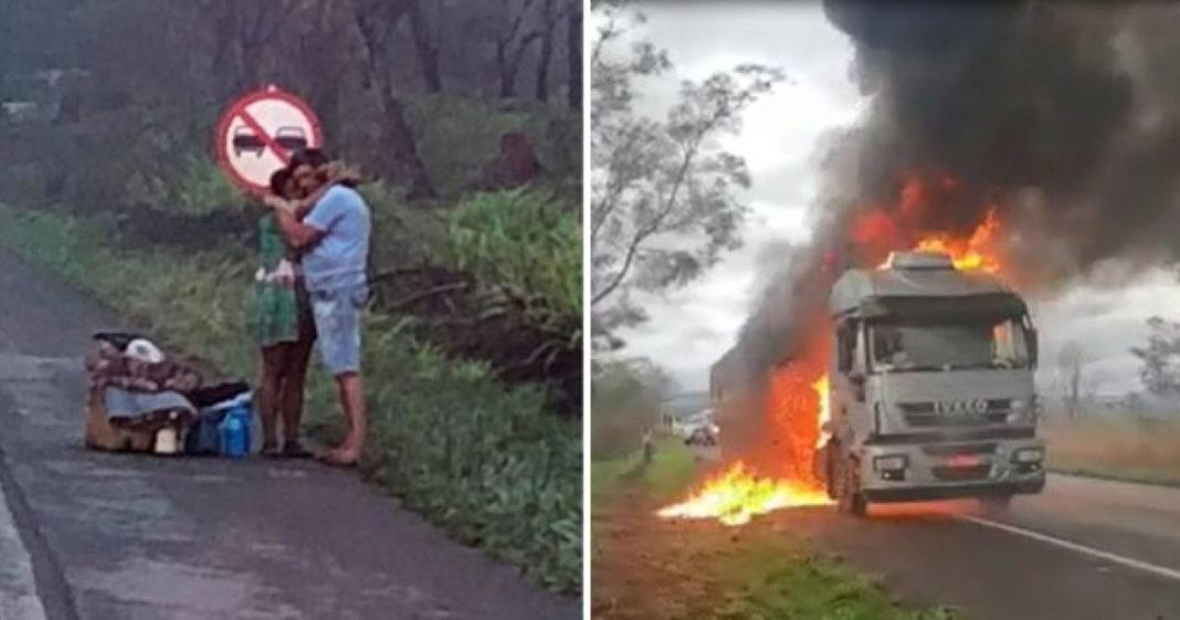 casal tem carreta incendiada e pede ajuda