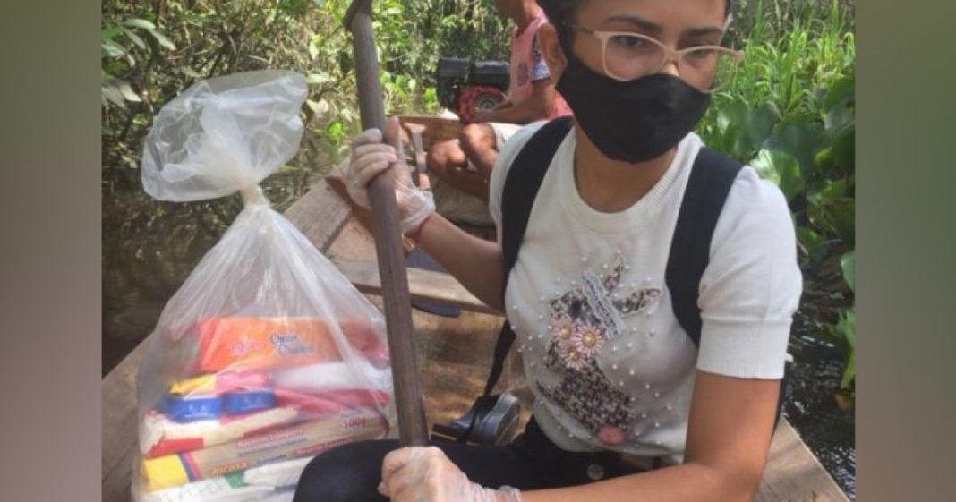 estudantes distribuem cestas básicas no AP