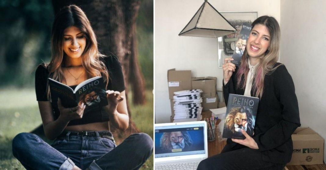 Mulher sentada em parque lendo livro e Mulher sentada em sala com livro na mão, computador e caixas de livro