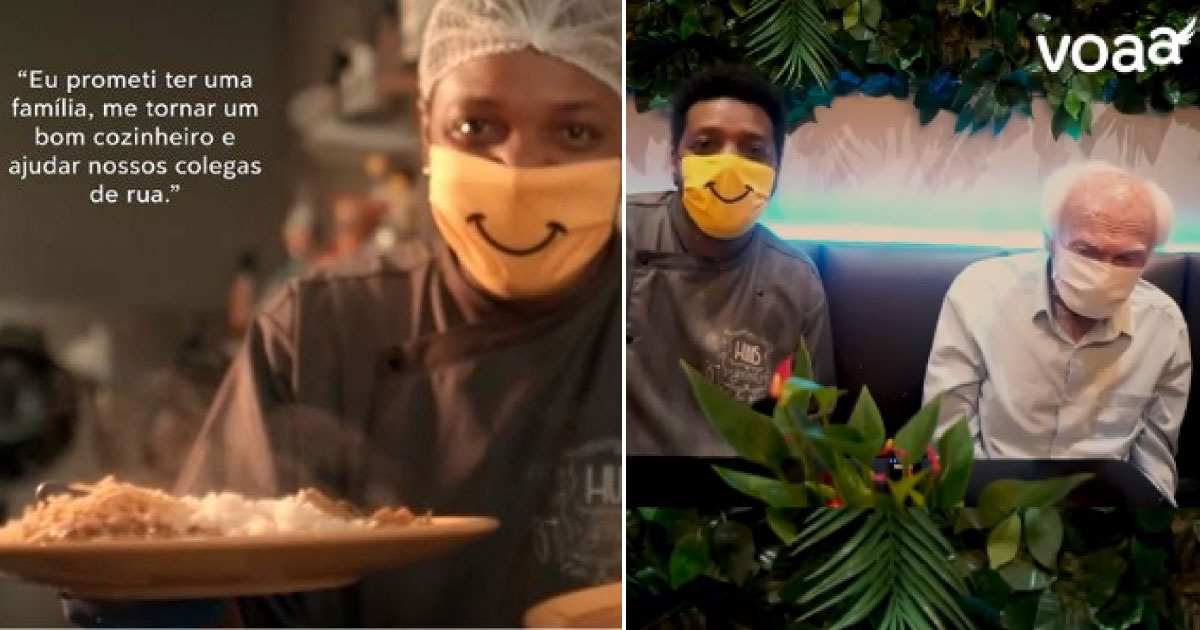 Ex-sem teto reinaugura restaurante após vaquinha e convida idoso que também teve vida transformada pela Voaa 1