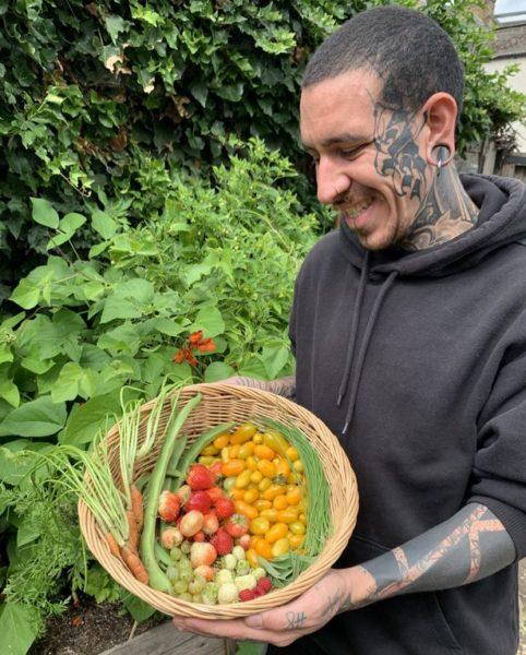 homem cultiva frutas e verduras em casa