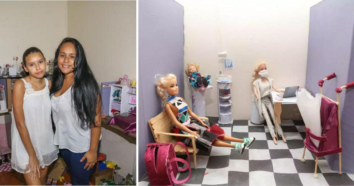 mãe constrói mundo da barbie para a filha