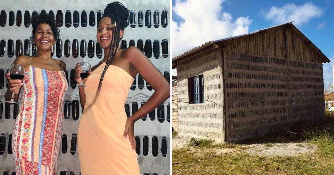 Mãe e filha comemoram a construção de casa utilizando 5 mil garrafas de vidro recolhidas do lixo 2