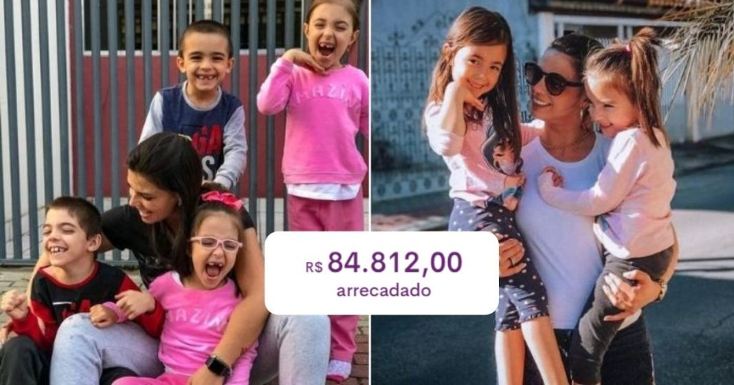 Vaquinha bate R$ 84 mil e realizará sonho de mãe de quadrigêmeos com paralisia cerebral de ter um carro para as crianças 1