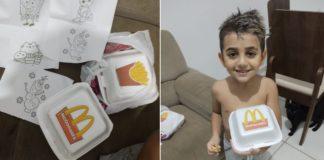 Caixa de sanduíche e batata frita e desenhos de colorir e Criança segurando caixa de sanduíche com logo do McDonalds