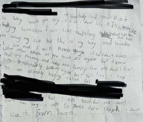 menina escreve cartinha bullying 2