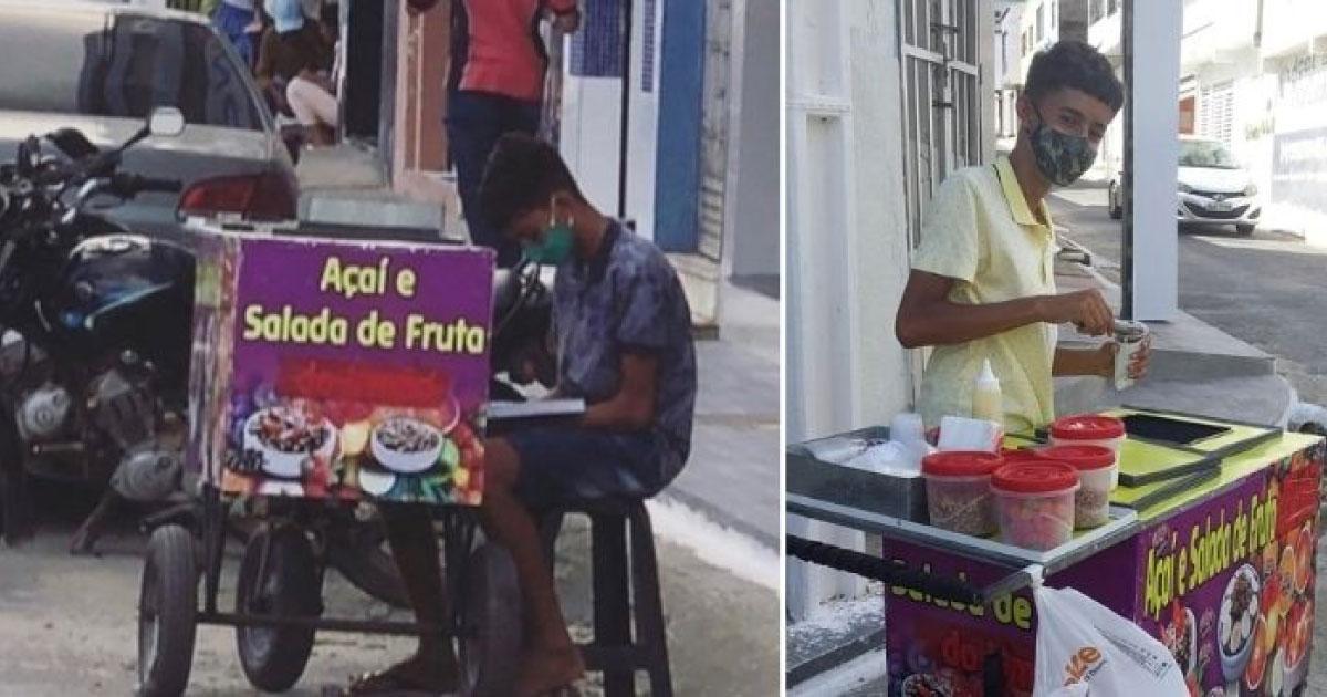 menino fotografado estudando enquanto trabalh