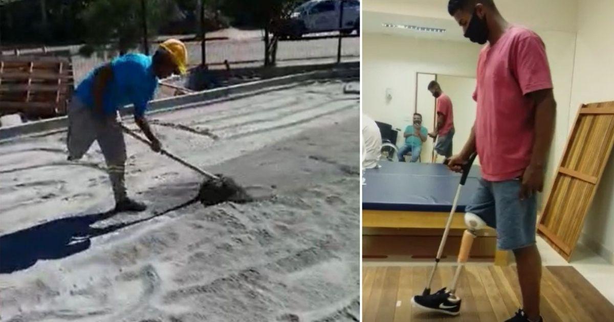 Pedreiro que perdeu uma perna em acidente realiza o sonho de ter sua prótese após vaquinha do Razões 1