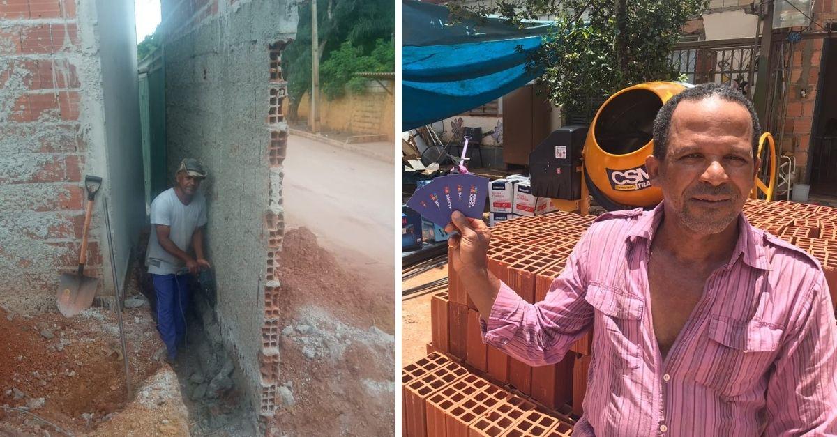 pedreiro trabalhando em obra e pedreiro com novos equipamentos e betoneira