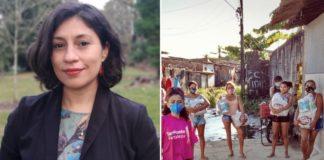 Pesquisadora cearense que ganhou prêmio e ao lado mulheres em rua com cestas básicas na mão