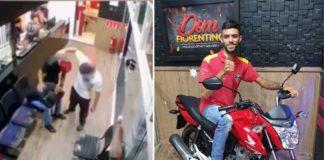 Imagem de circuito de segurança de pizzaria e de entregador em cima de moto