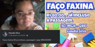 Mulher de óculos, texto de postagem de anúncio de diarista e arte com divulgação de trabalho da diarista