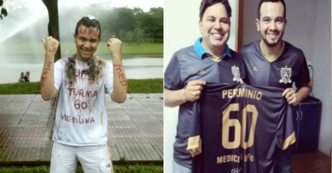 Dois homens sorrindo segurando camisa de time e Garoto com roupa pintada comemorando aprovação em vestibular