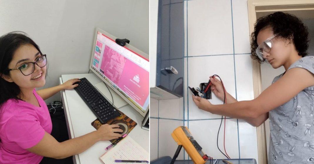 Mulher de camisa rosa e óculos em frente a tela de computador e Mulher fazendo serviço de elétrica em parede