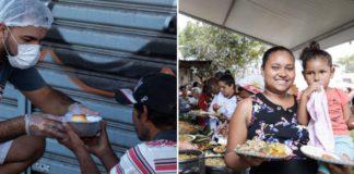 Homem entregando quentinha a pessoa em situação de rua e mulher com criança no colo expondo refeição que recebeu