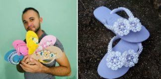 Homem segurando várias sandálias customizadas