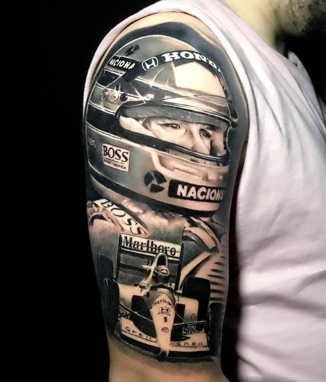 tatuagem piloto ayrton senna braço