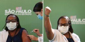 Enfermeira sendo vacinada da Covid-19 e enfermeira com braço em punho após ter sido vacinada da Covid-19