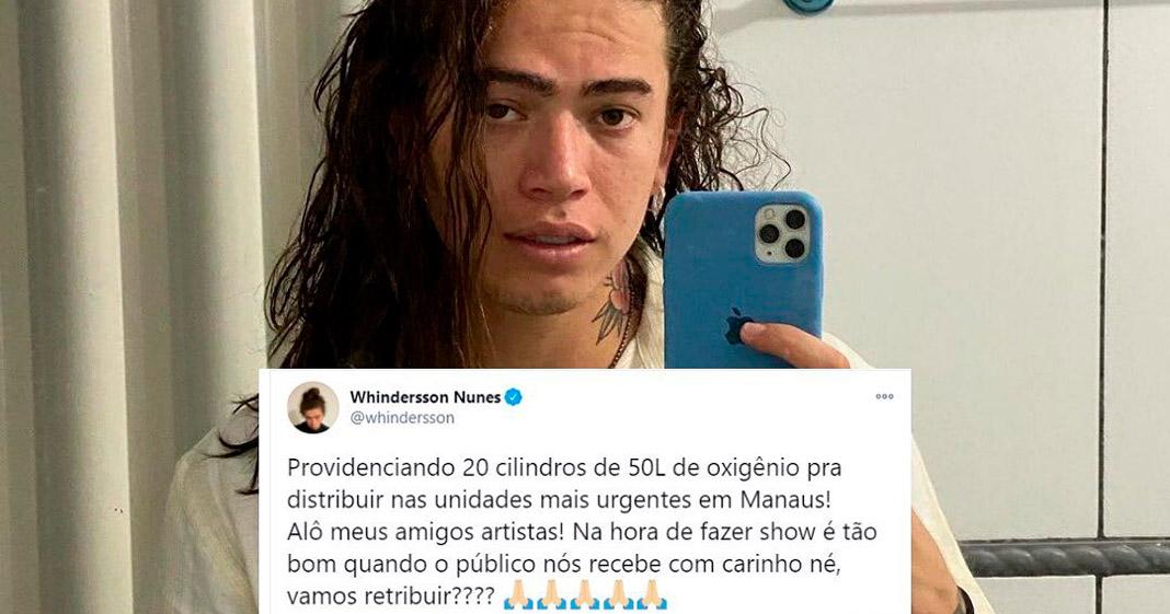 Whindersson Nunes doa 20 cilindros de oxigênio para hospitais em Manaus e mobiliza artistas 1