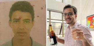 Foto antiga de rapaz e homem sorrindo com taça e Champagne na mão