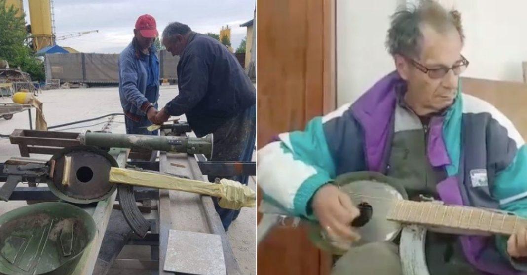 Instrumentos a partir de armas velhas e homens trabalhando recuperando e idoso tocando instrumento musical criado a partir de arma
