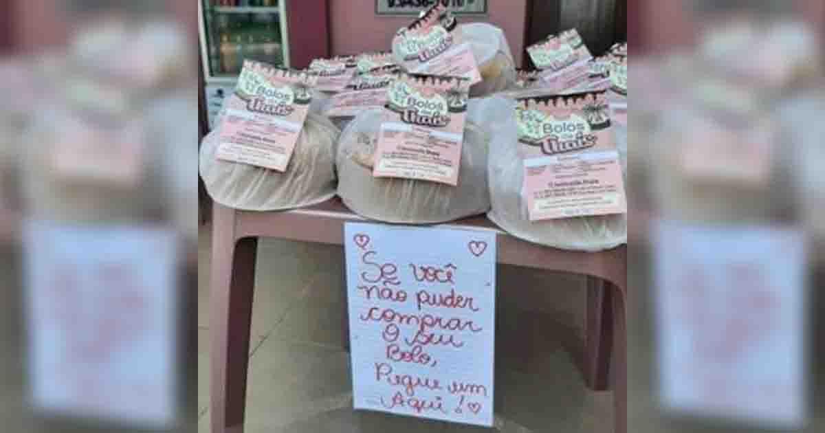 Casal do DF doa bolos que sobram em loja para quem não pode comprar 1