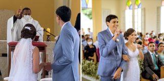 Noivos surdos em casamento com padre fazendo gestos de Libras