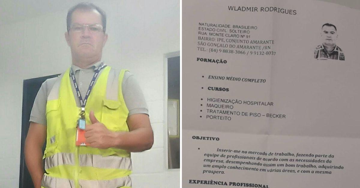 Homem com farda de trabalho e currículo ao lado