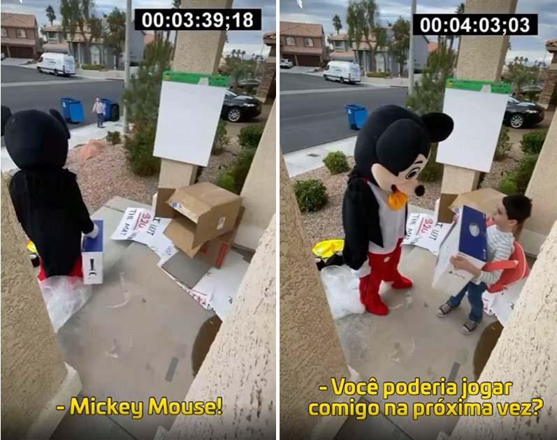 entregadora fantasiada mickey mouse surpreende menino no dia de seu aniversário