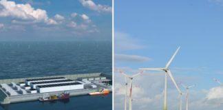 Imagem de ilha de captação de energia eólica em alto mar e imagem de postes com hélices de captação de energia eólica
