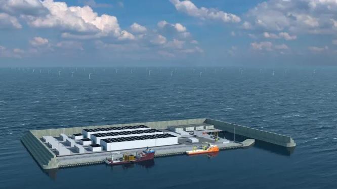 Imagem de ilha de captação de energia eólica em alto mar