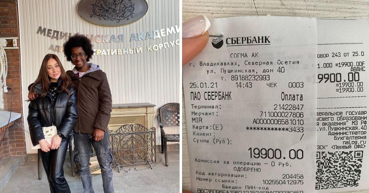 Homem negro com mulher branca abraçados em recepção de faculdade russa de medicina e Imagem de nota fiscal com valores arrecadados em russo