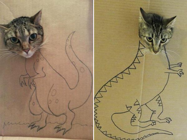 Dia Mundial do Gato: Veja fotos fofas de gatinhos 'transformados' em dinossauros com caixas de papelão 3