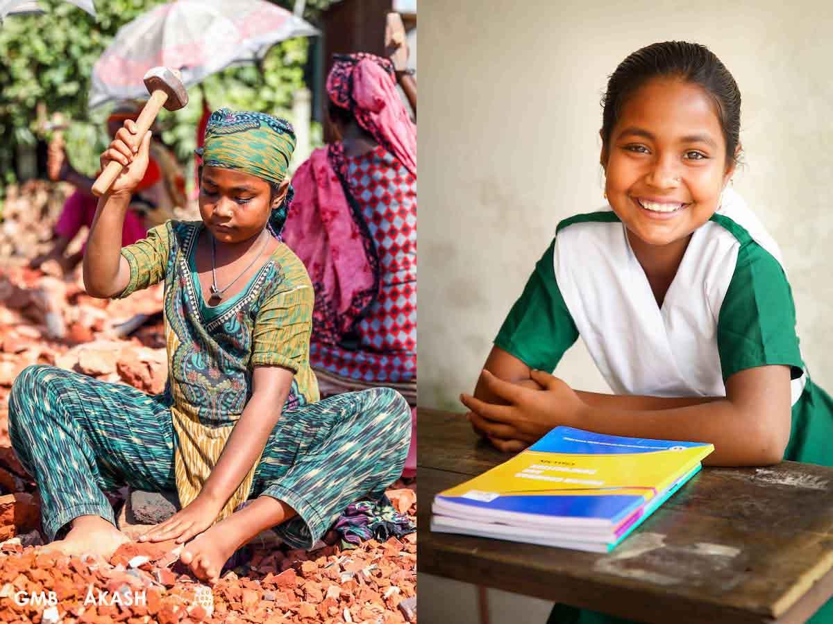 antes e depois menino trabalho infantil sentada carteira escola