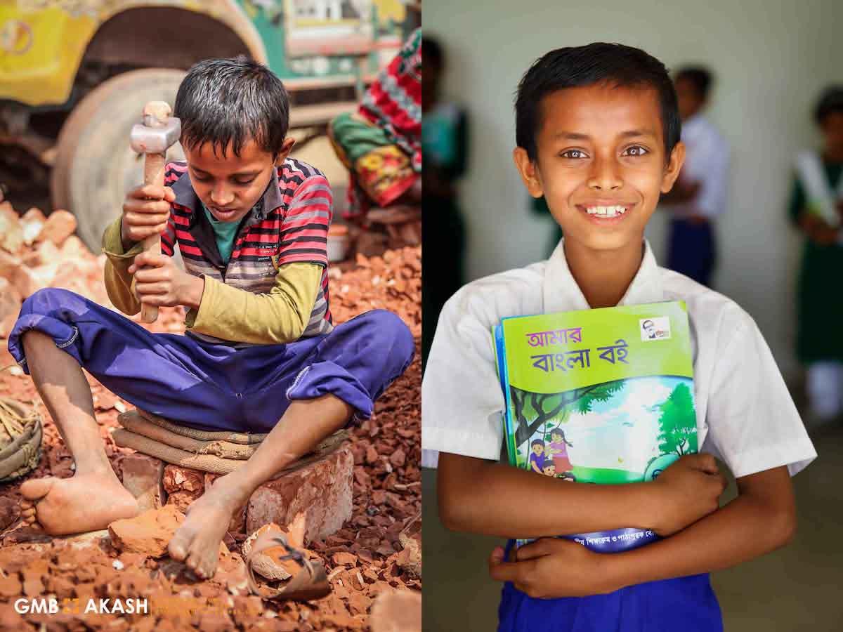 antes e depois menino trabalho infantil segurando livro