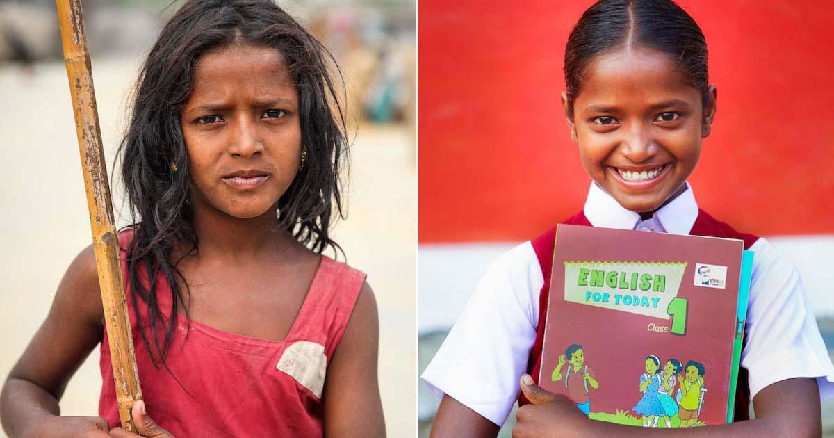 antes e depois menina trabalho infantil segurando livro