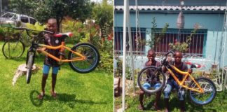 Menino haitiano segurando bicicleta e Dois meninos haitianos segurando bicicleta e sentados em balanço