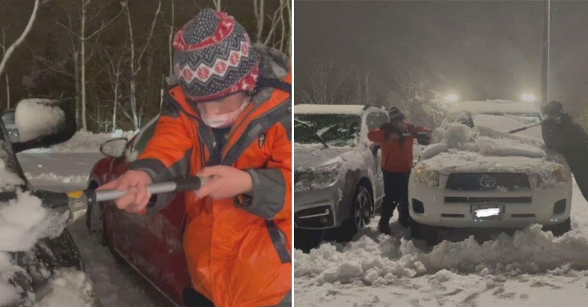 Pandemia: Criança de 10 anos remove neve de carros de funcionários de hospital para retribuir dedicação 2