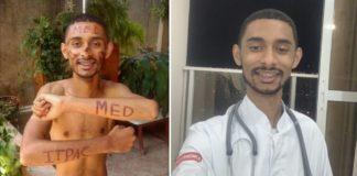 Jovem sem camisa com pinturas indicando aprovação em medicina e Jovem sorrindo com jaleco e estetoscópio