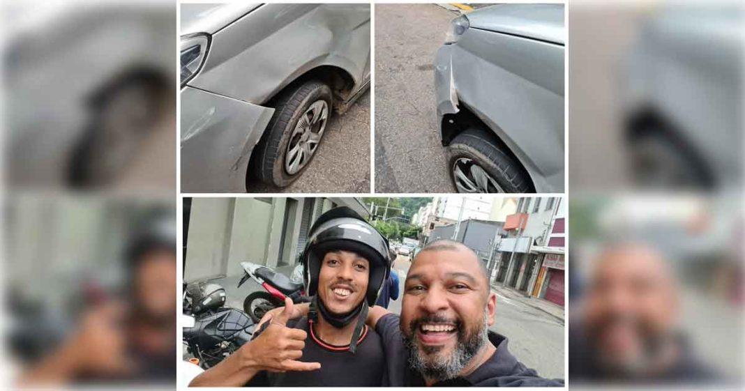 selfie motorista abraçado motoboy bateu carro moto