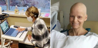 professora câncer ministrando aula online hospital
