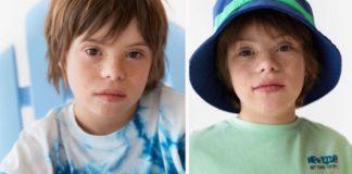 Criança com Síndrome de Down em campanha de loja de roupas