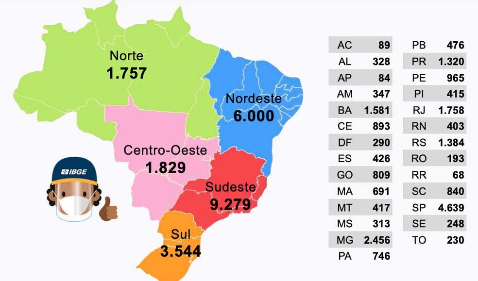 mapa vagas agente censitário municipal agente censitário supervisor censo demográfico 2021