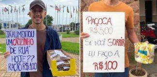 Homem segurando placa de anúncio de venda em semáforo