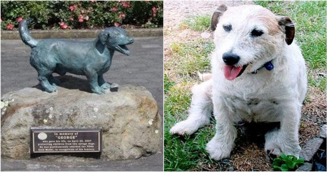 George recebeu uma estátua de bronze por sua bravura