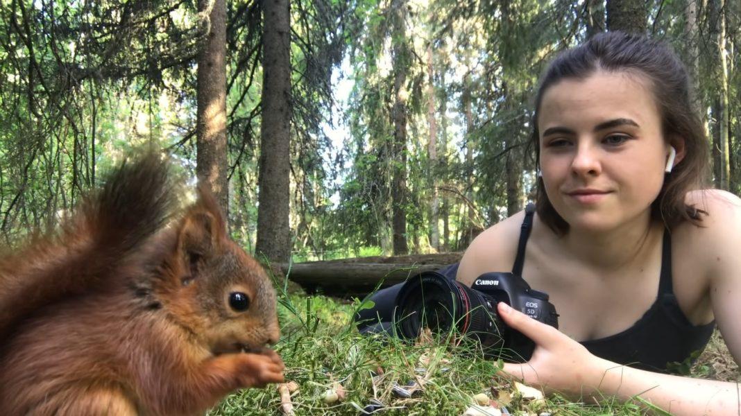 A fotógrafa Dani Connor adotou quatro esquilos órfãos em uma floresta da Suécia