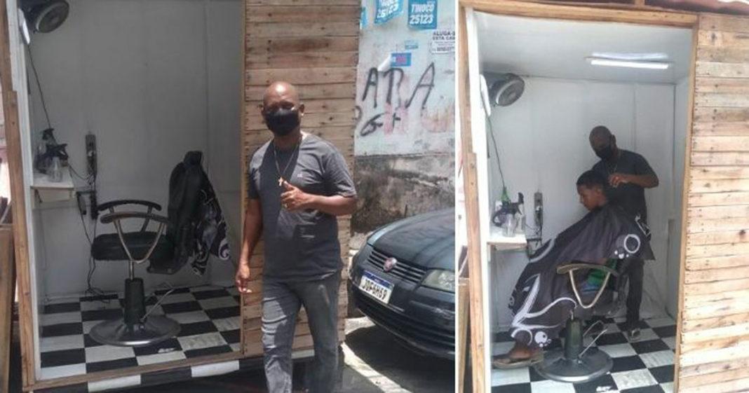 Flávio Carvalho construiu barbearia com pallets